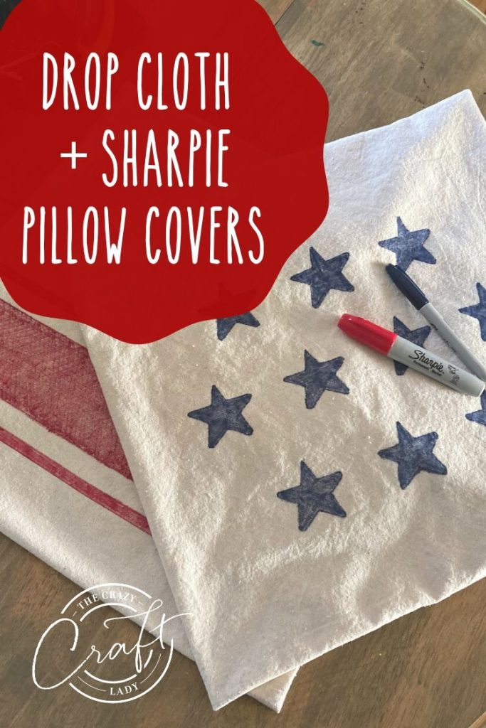 DIY drop cloth and sharpie marker pillow covers