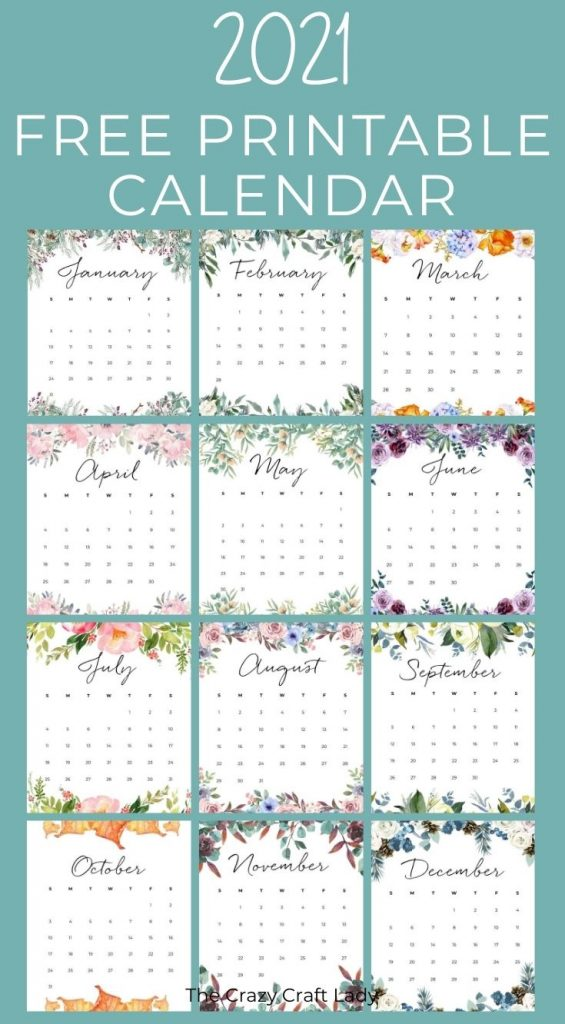 2021 Free Printable Floral Wall Calendar - The Crazy Craft ...