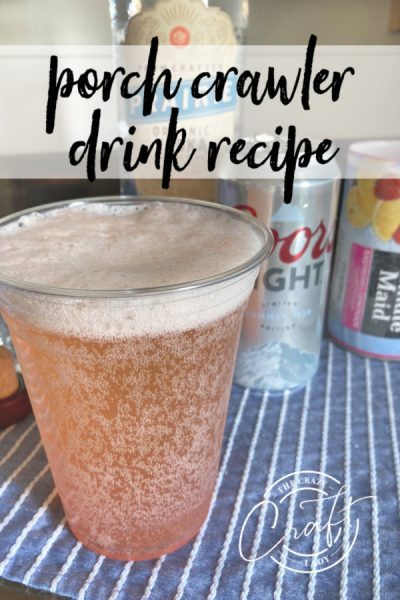 This light and refreshing summer cocktail packs a serious punch! Made with 3 simple ingredients, this pink porch crawler drink recipe is perfect for a hot day.