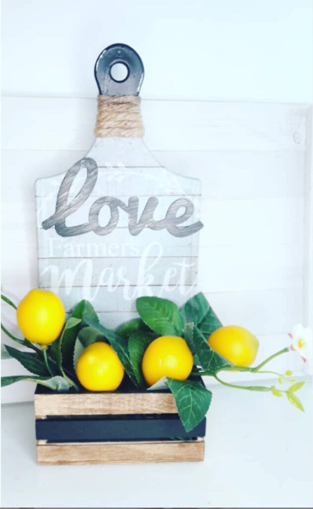 dollar tree cutting board and wood crate decoration