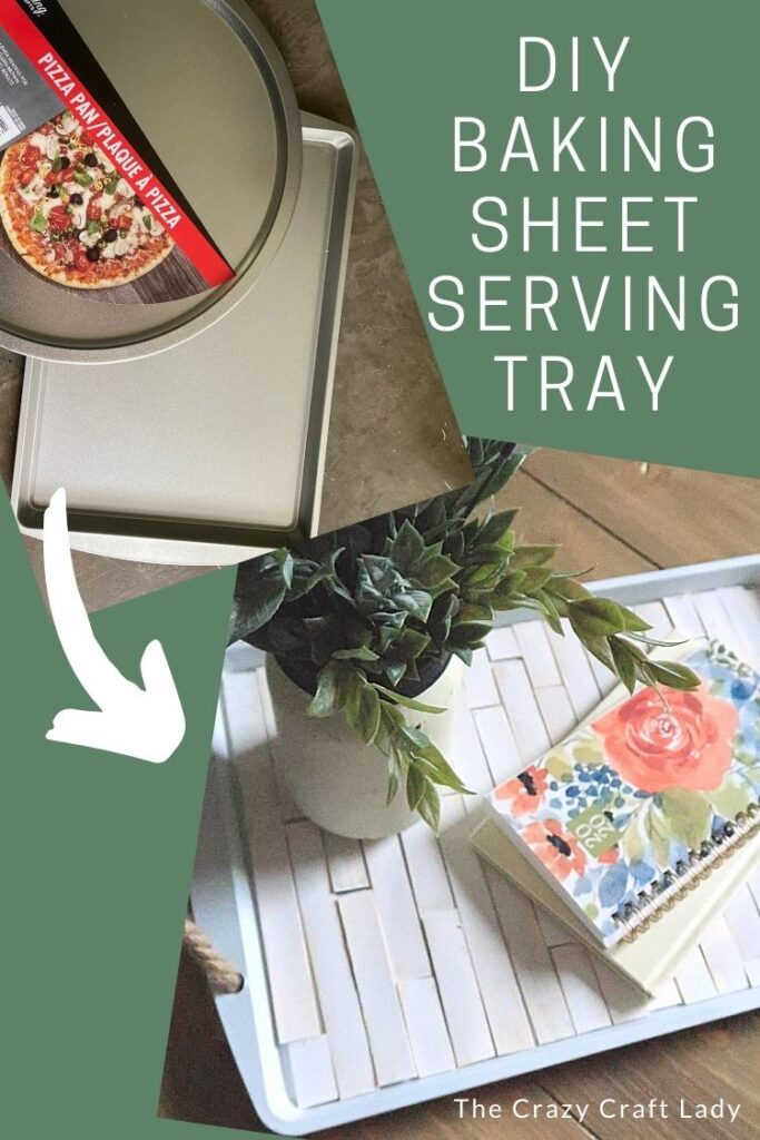 For just a few dollars in supplies, you can make this functional and beautiful farmhouse-style tray from a dollar store cookie sheet.