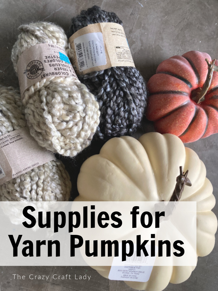 Supplies for making Yarn-Wrapped Pumpkins
