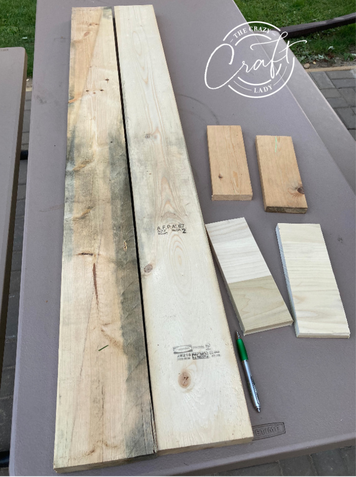 cuts of wood needed to make a porch board sign