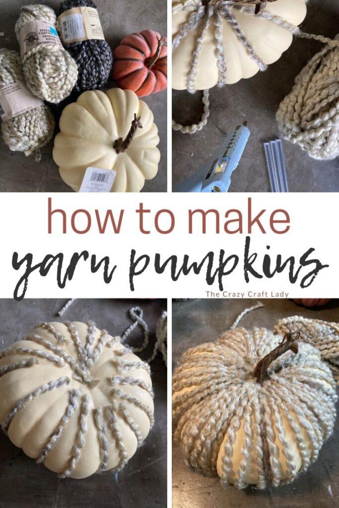 step-by-step tutorial: how to make yarn pumpkins