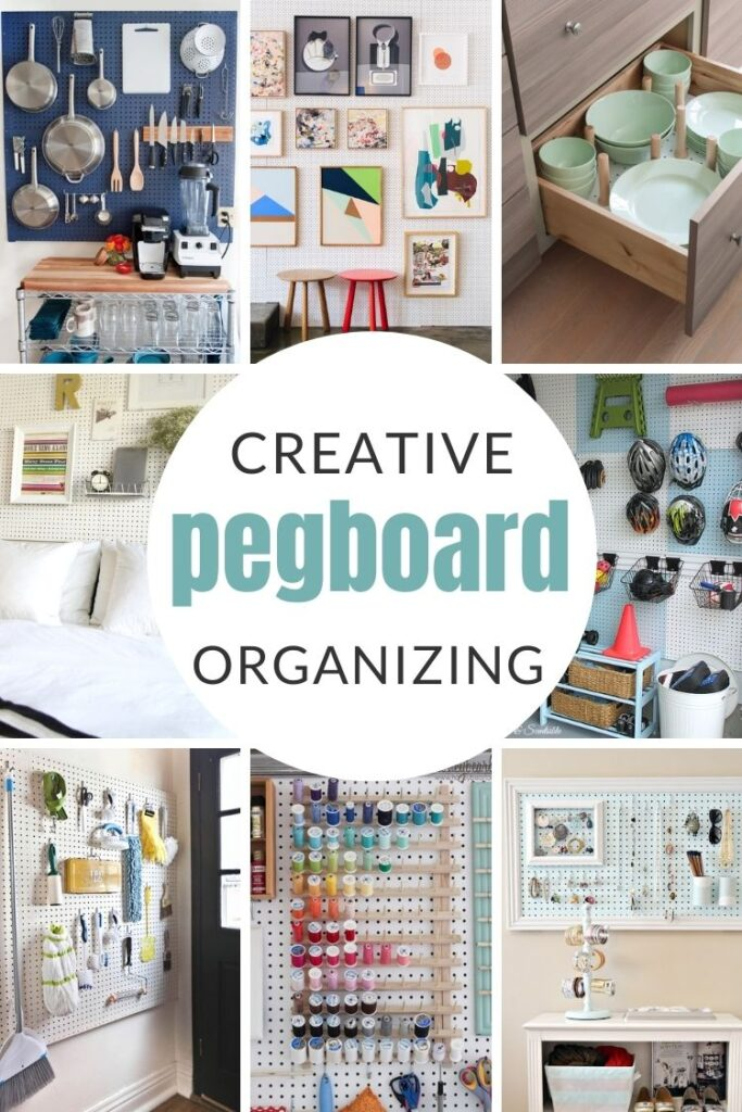 Creative Pegboard Organizing Ideas: Pegboards have infinitely creative uses well beyond your garage. Solve your organizing problems with these 12 genius pegboard organizing ideas for all areas of your house.