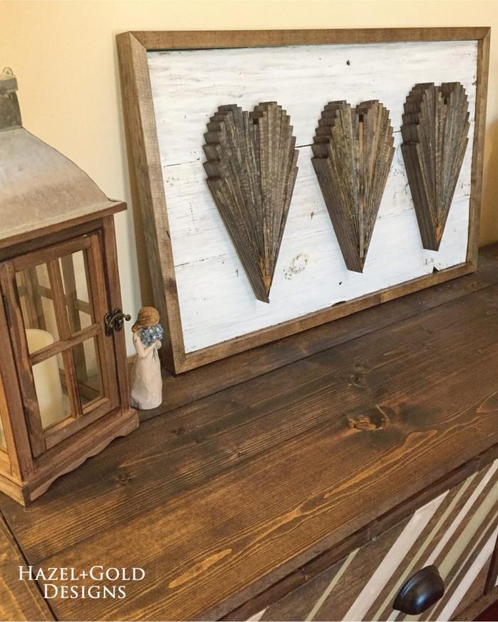 DIY wood shim heart art - make some fun heart-shaped decor