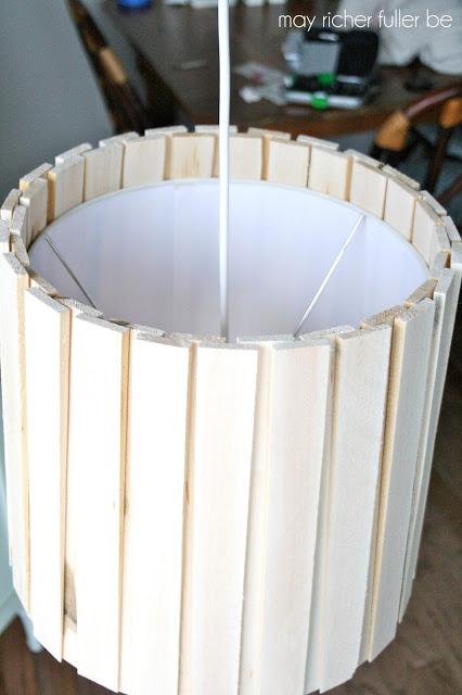 DIY wood shim lampshade