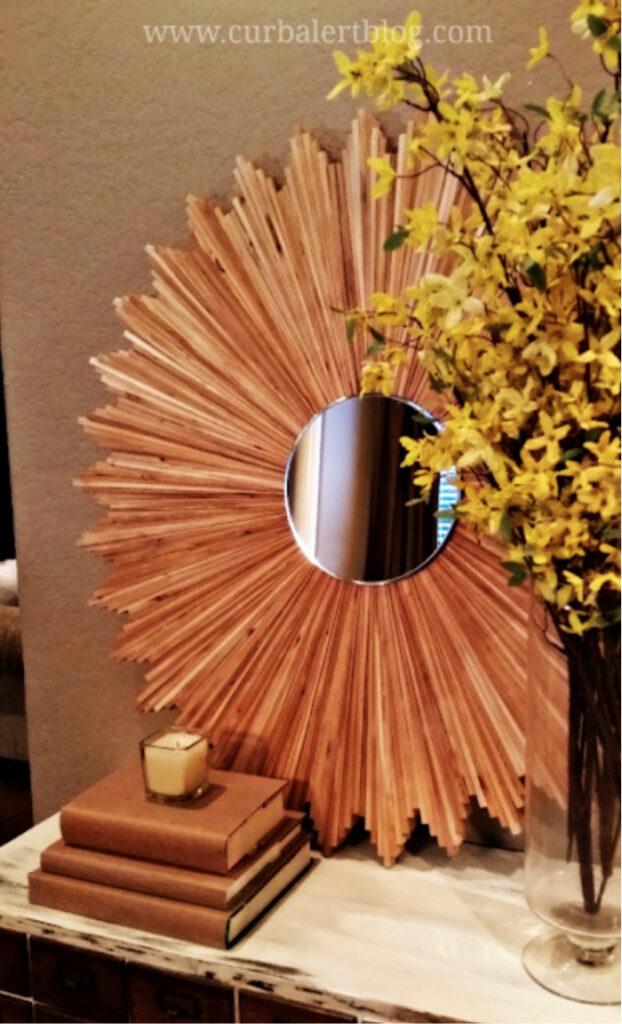 DIY wood shim sunburst mirror frame