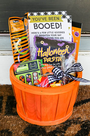 A Halloween Boo Basket filled with family activities.