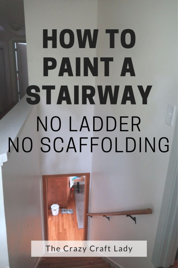 Painting can be a TON of hard work. See how I managed to paint our stairway wall WITHOUT a ladder or scaffolding AND without hiring a professional painter.