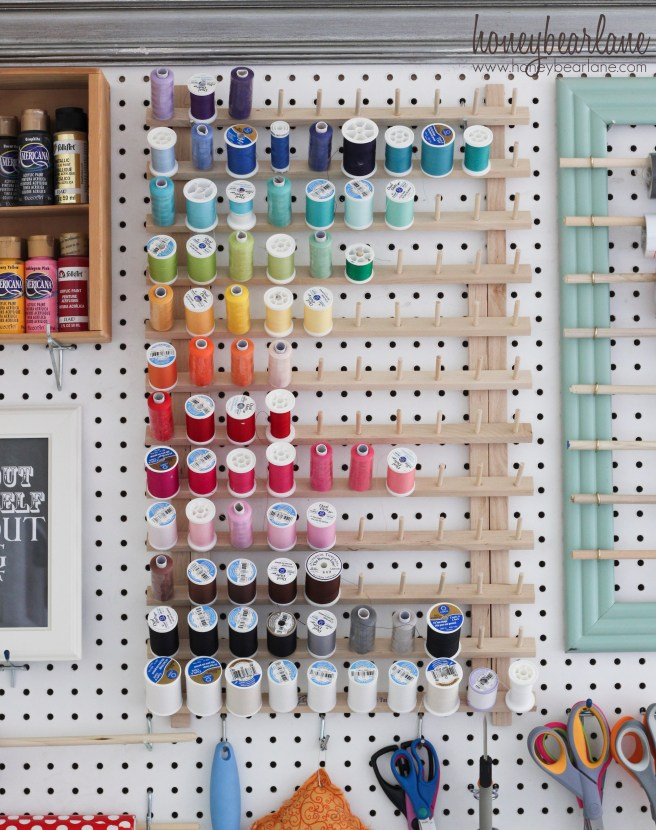 craft room pegboard from Honey Bear Lane