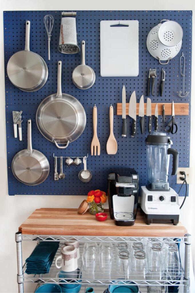 kitchen pegboard vertical storage