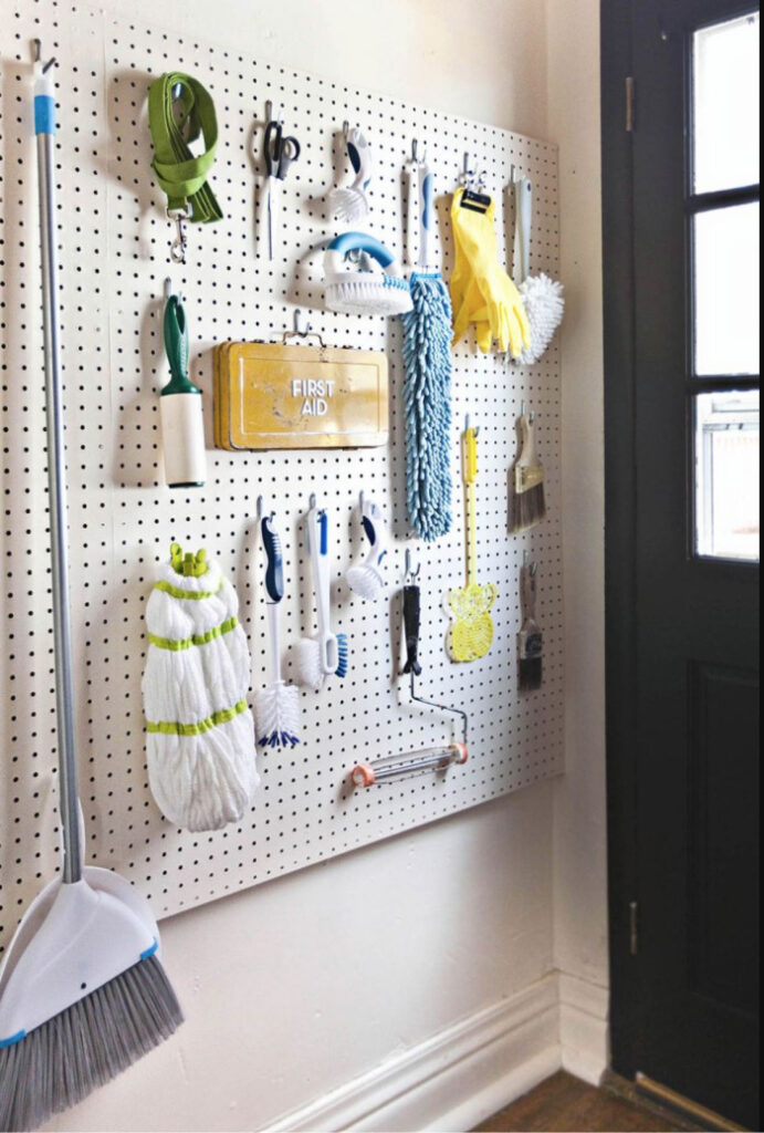laundry room pegboard wall - get organized with pegboards