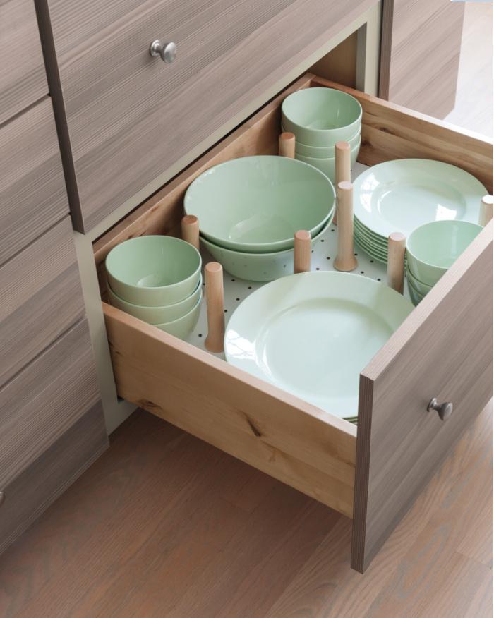 pegboard crockery drawer organization