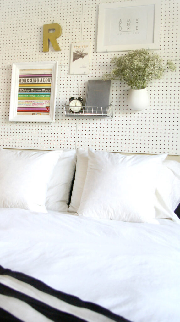 pegboard headboard from Sugar and Cloth