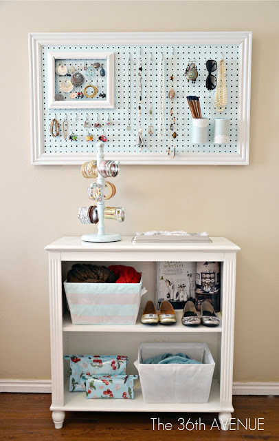 framed pegboard jewelry organizer - creative pegboard organizing solution