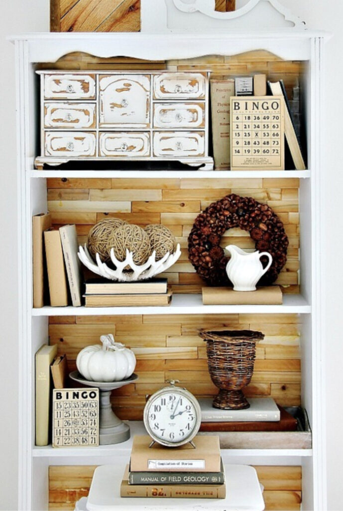 wood shim bookcase - upcycle your furniture by adding wood shims
