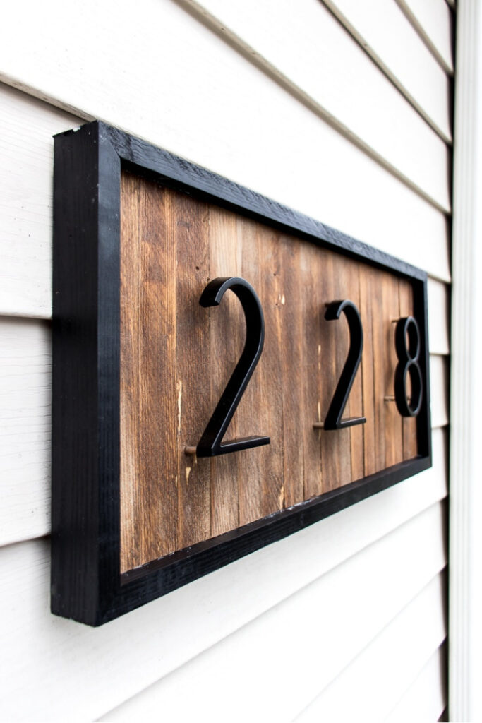 wood shim house number sign