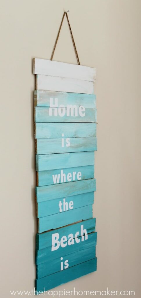 wood shim ombre wall sign - create a fun sign to display any message in your home