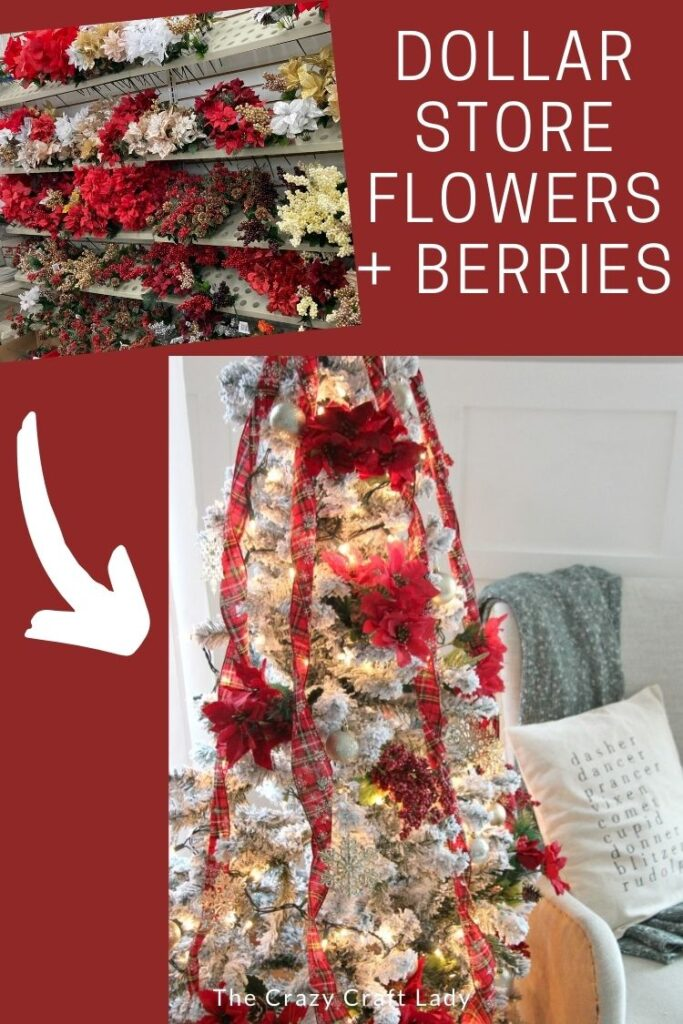 Christmas Tree decorating with Dollar Store Flowers and Berries