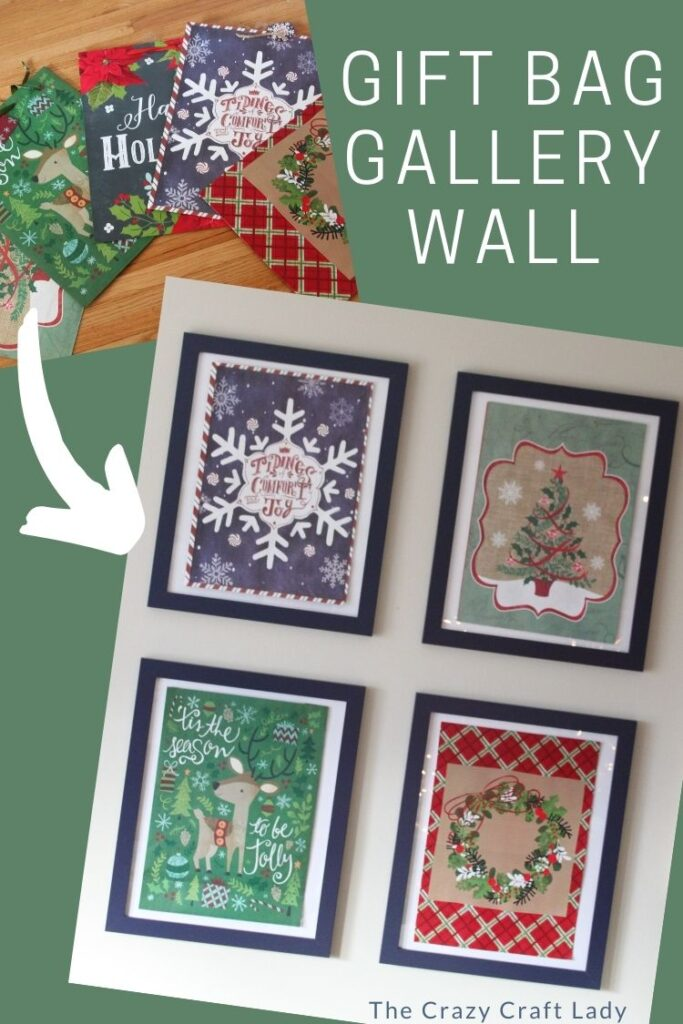 Christmas Dollar Store Gift Bag Gallery Wall