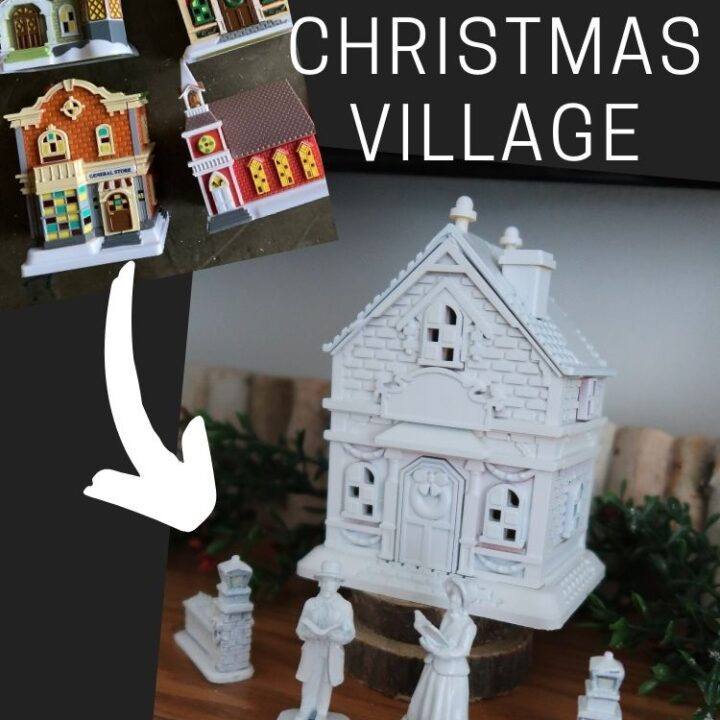 Dollar Store Holiday Village - before and after