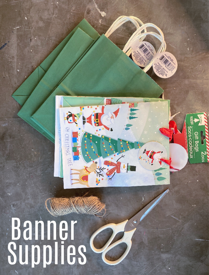 Supplies: Christmas gift bags - scissors - twine