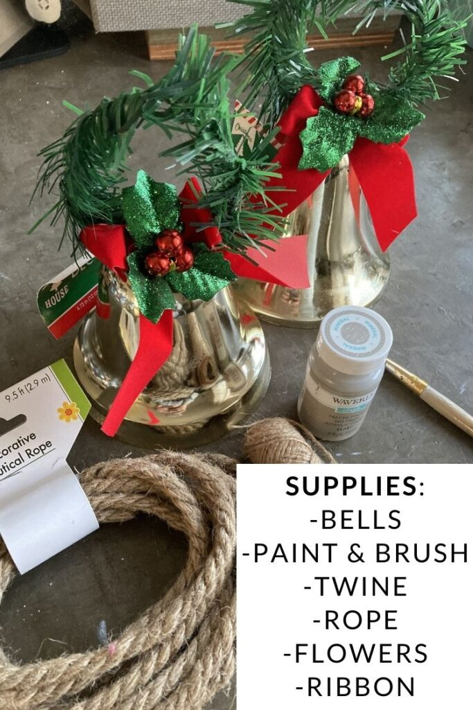 Supplies Needed to Transform Dollar Store Plastic Bells: bells, paint and brush, twine, rope, flowers, and ribbon