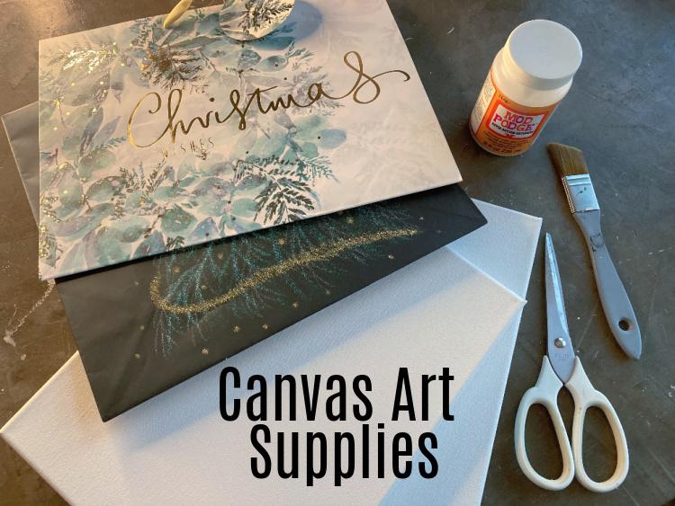 Supplies - gift bags - canvas - mod podge - scissors - paint brush
