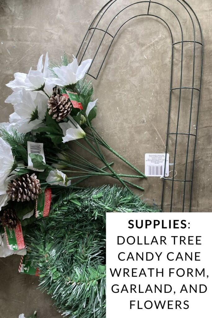Supplies to make a dollar store candy cane wreath - wreath form, garland, and white poinsettias