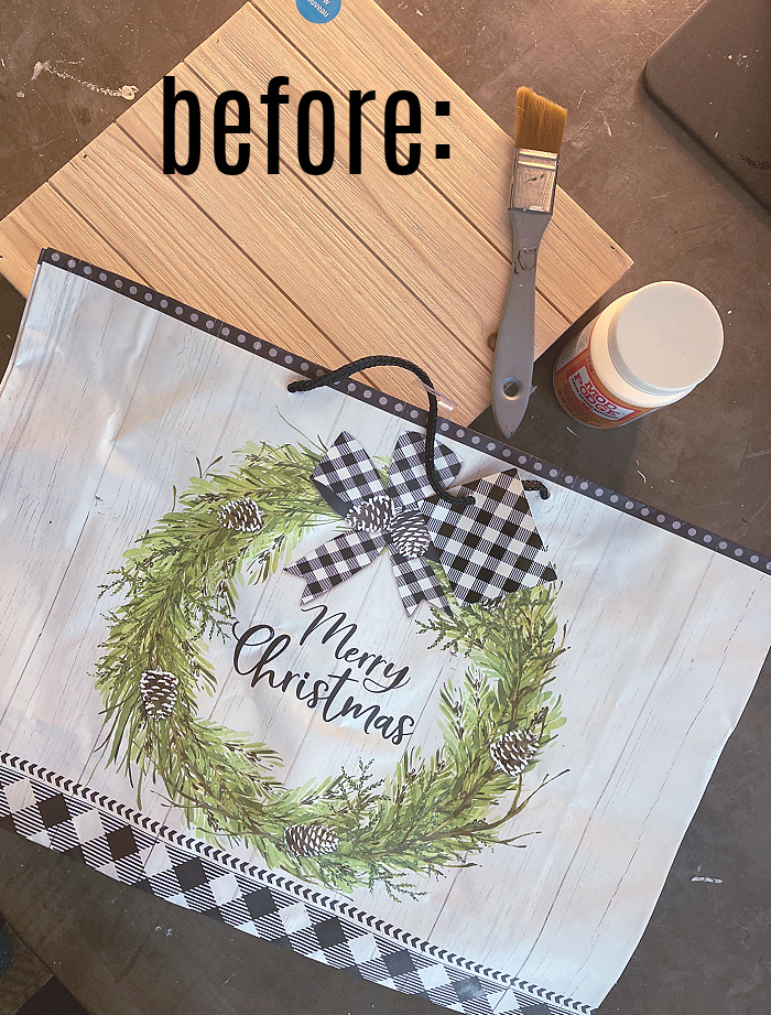 Supplies - unfinished wood sign - mod podge - paint brush - gift bag