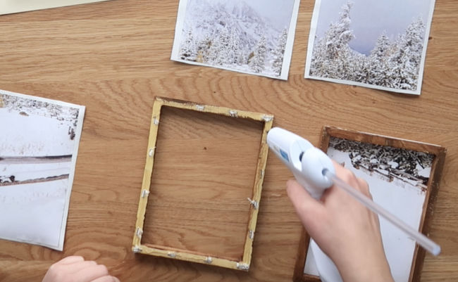 Apply hot glue to the back of each wooden frame