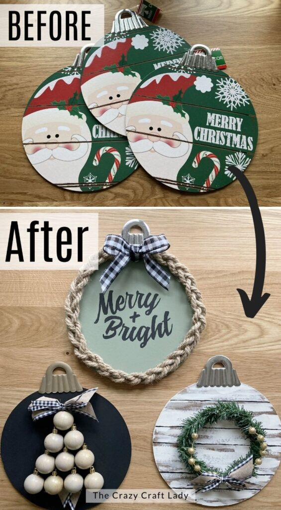 Before and After - dollar store jumbo Christmas ornaments
