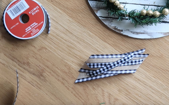 Cut two 4-inch lengths of both the wide and thin ribbon - be sure to cut at a 45-degree angle