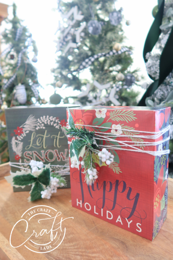 Decorated dollar store holiday gift boxes