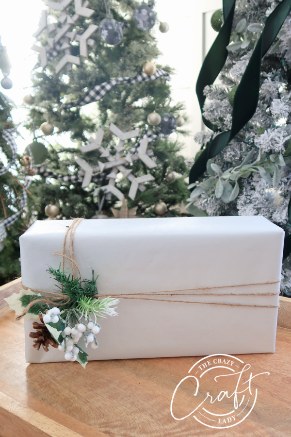 Dollar Store Gift Wrap - white paper, twine, and greenery