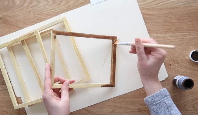Stain the wooden frames
