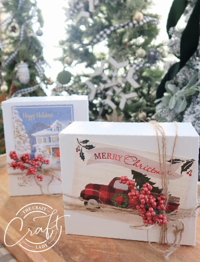 decorate plain white gift boxes with Christmas cards