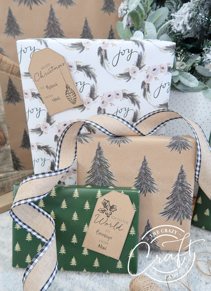 neutral green and white Christmas gift wrap