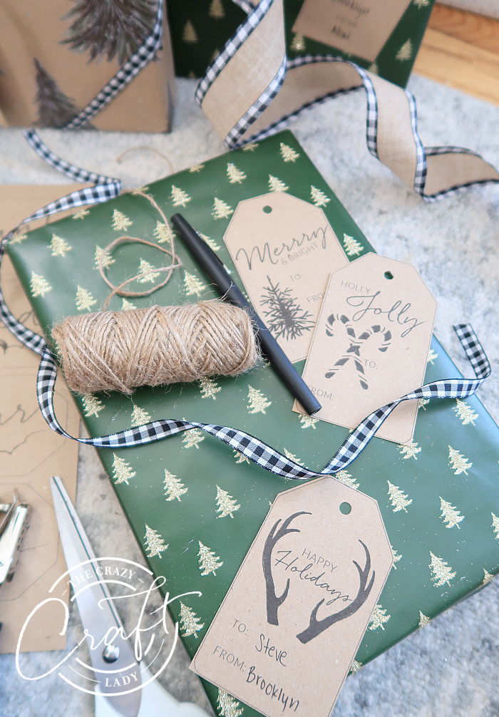 rustic printable gift tags on brown cardstock