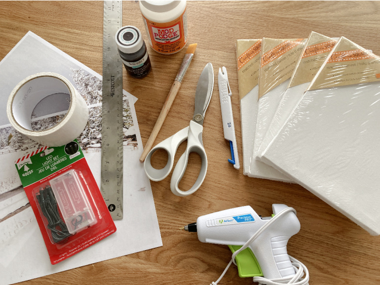 supplies needed to make reverse canvas window craft