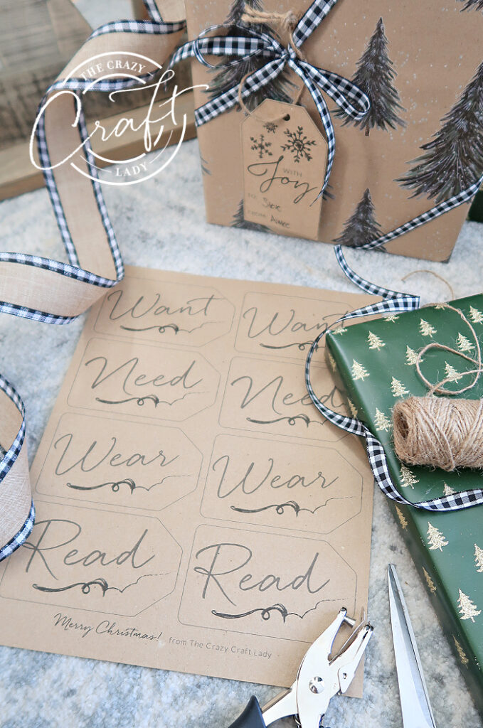 want need wear read printable gift tags