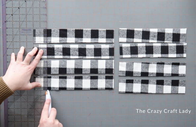 Cut 2-inch fabric strips into 10-inch pieces