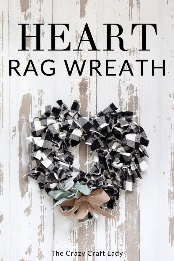 DIY Black and White Heart Rag Wreath