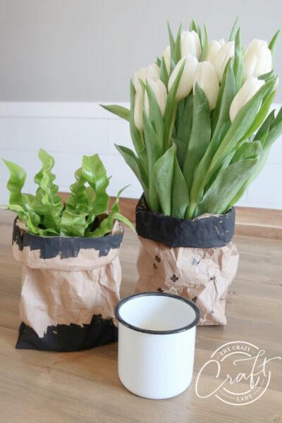 DIY modern paper bag vases