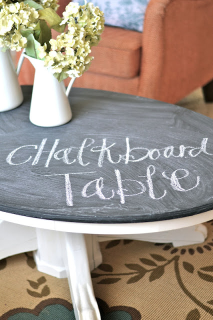 A coffee table painted with chalkboard paint.
