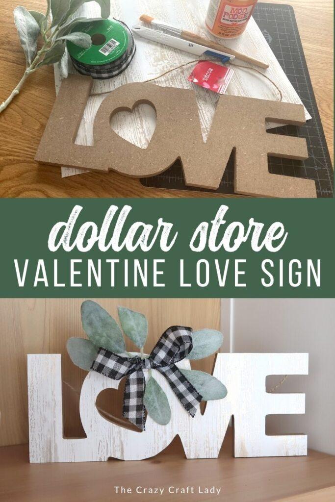 Dollar Store Valentine Love Sign