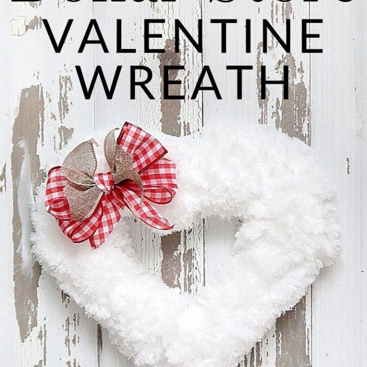 Fuzzy White Dollar Store Valentine Wreath
