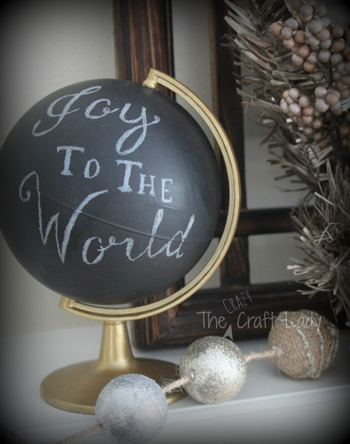 DIY Christmas chalkboard globe craft