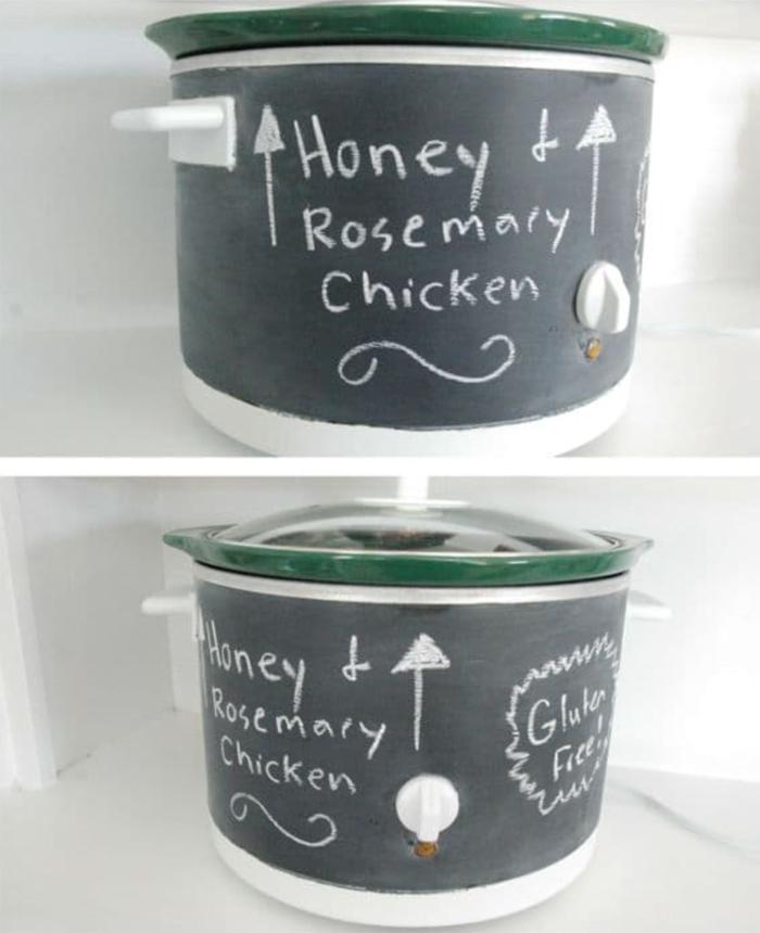 crock pot painted with black chalkboard paint